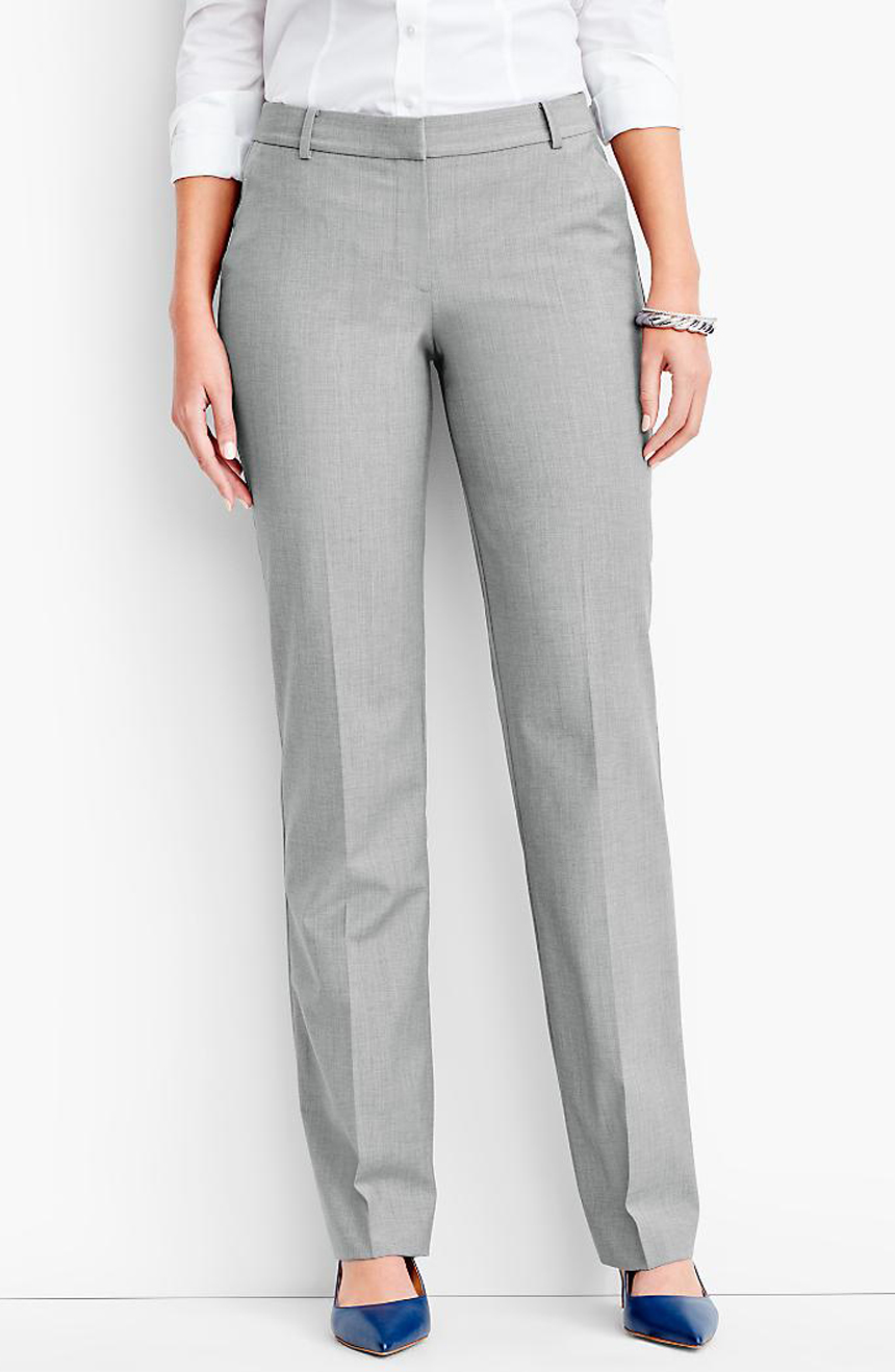 Womens mohair suit pants full front view.