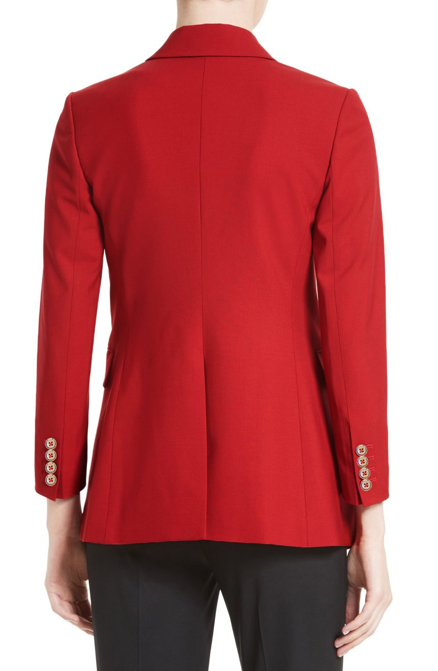 Womens red wool blazer jacket full back view.