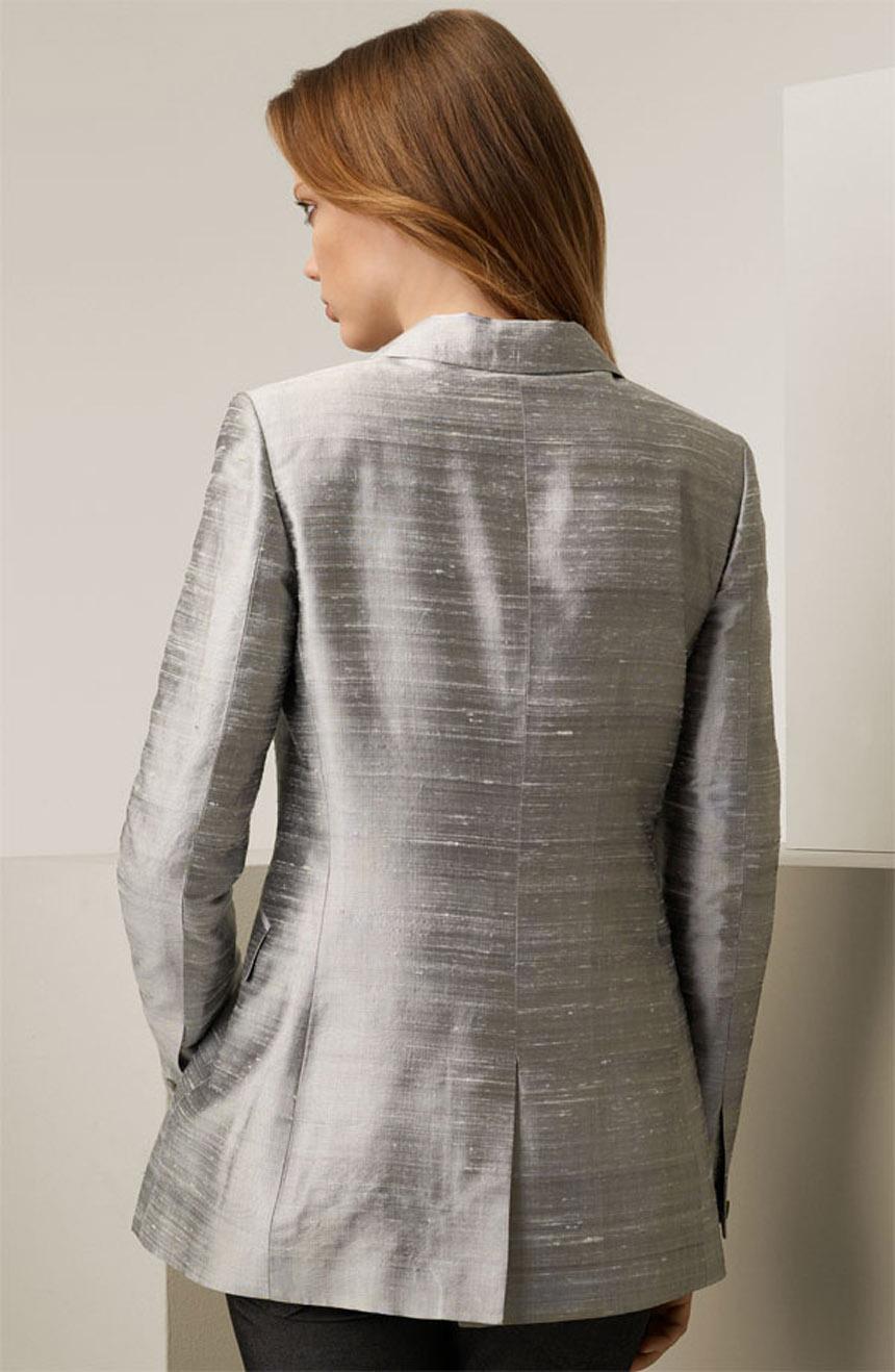 Womens silk jacket in dupioni silk full back view.