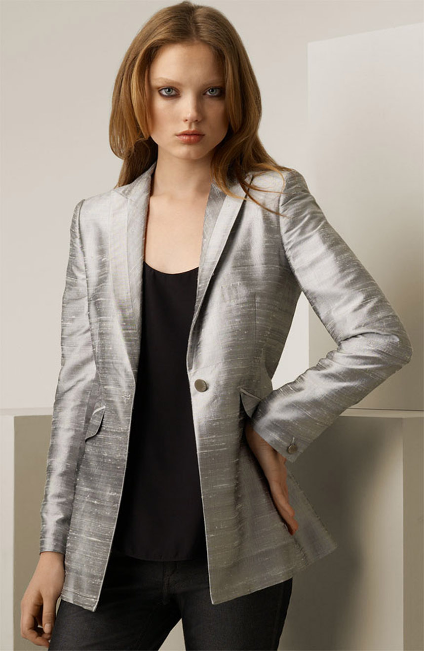 Womens silk jacket in dupioni silk with a center-back vent.