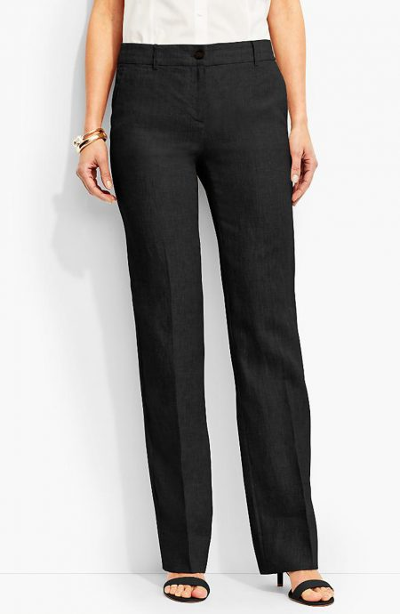 Womens solid linen straight leg pants with pockets.