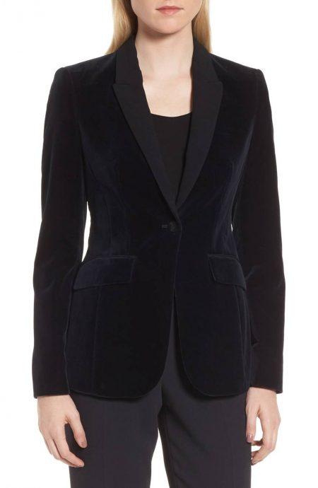 Womens velvet tuxedo blazer with satin silk peak lapels and collar.