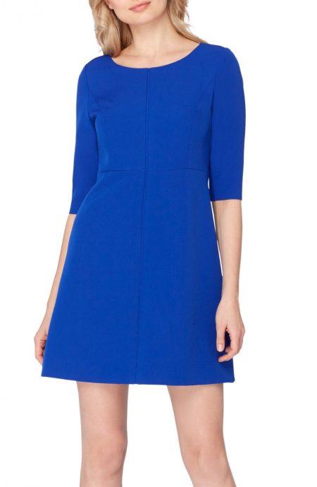 Cobalt blue mini dress with sleeves.