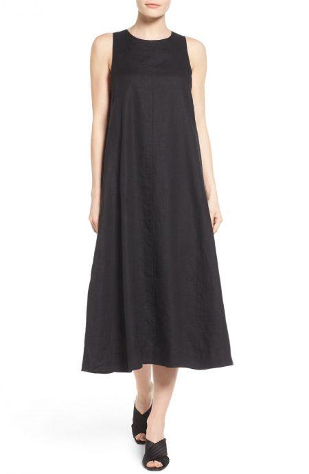 Long linen dress sleeveless for summer and beach weddings.