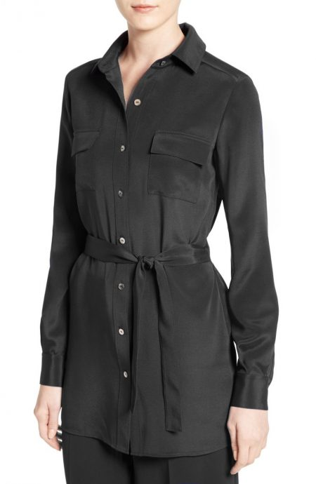 Silk shirt dress womens in crepe silk with a belted waist and long sleeves.