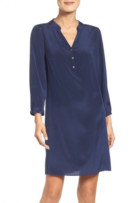 Silk tunic dress V-neck long sleeves in crepe silk.