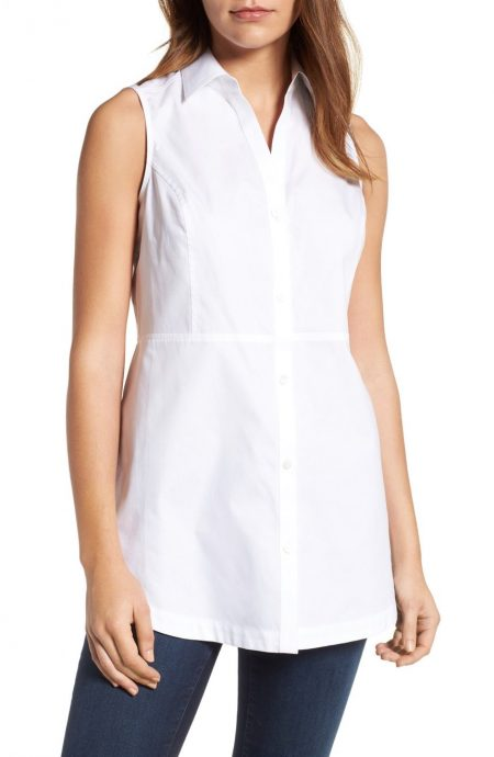 Sleeveless blouse with a collar on a female model.