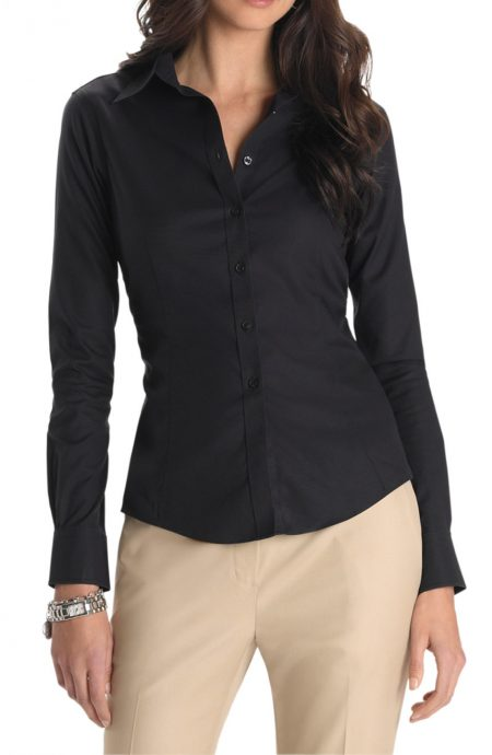 Womens black shirt with collar in cotton.