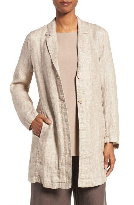 Womens single breasted linen duster coat jacket unlined.