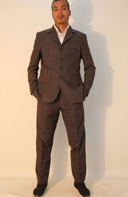 10th Doctor Who brown pinstripe suit.