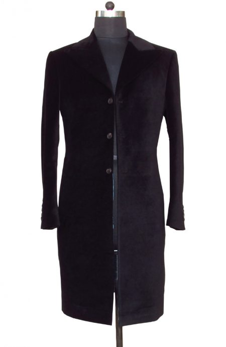 12th Doctor black velvet frock coat for Peter Capaldi cosplay, a full front view.