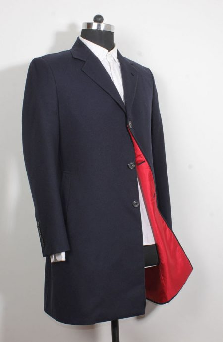 12th Doctor Who navy blue Crombie coat with red lining.