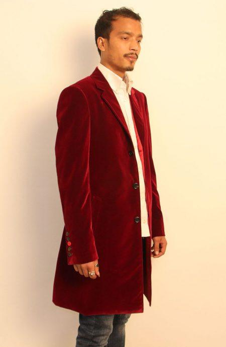 12th Doctor maroon red velvet coat.