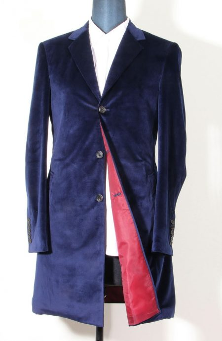 12th Doctor navy blue velvet coat for Peter Capaldi cosplay.