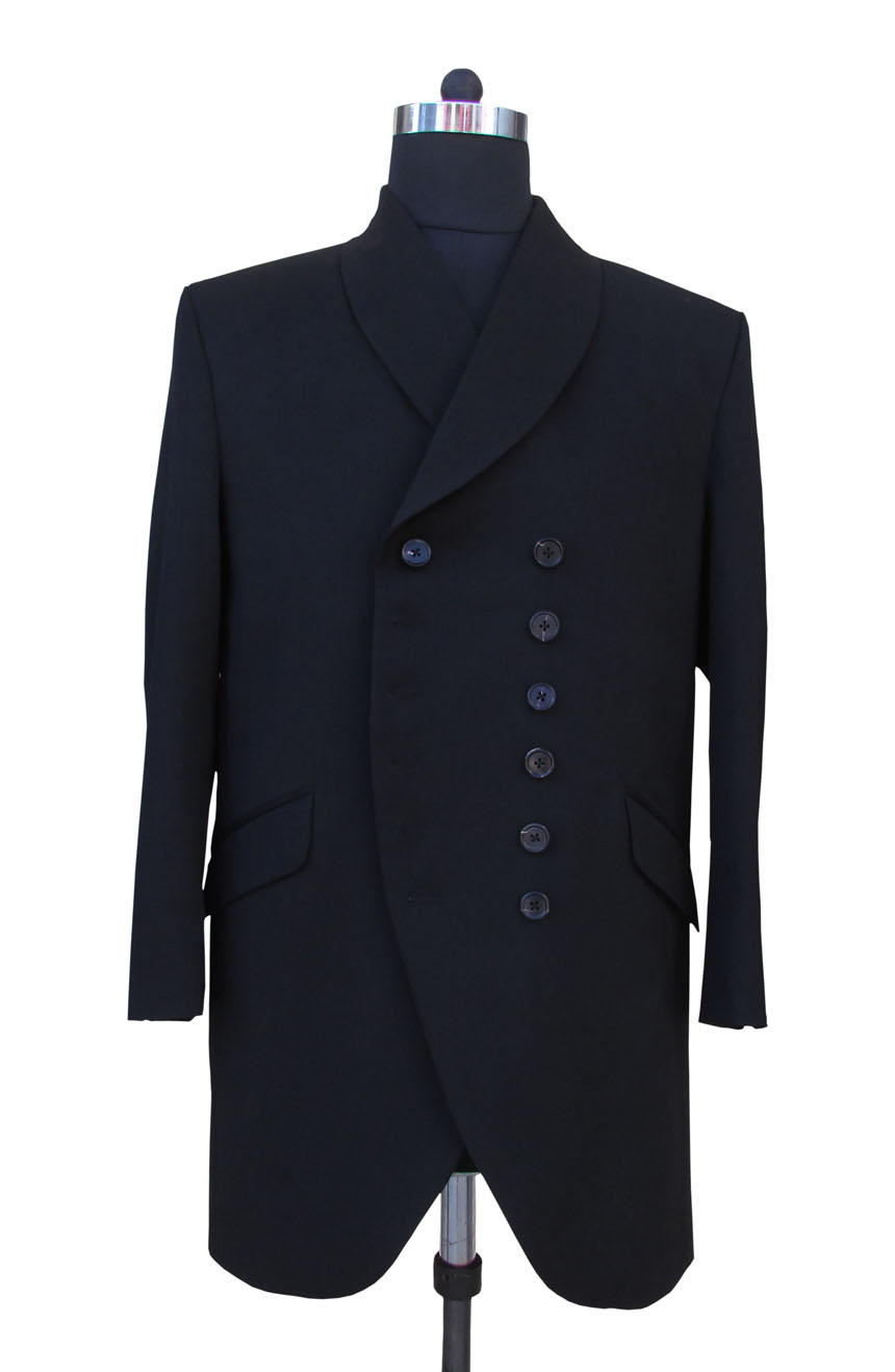 1st Doctor Who black coat full front view.