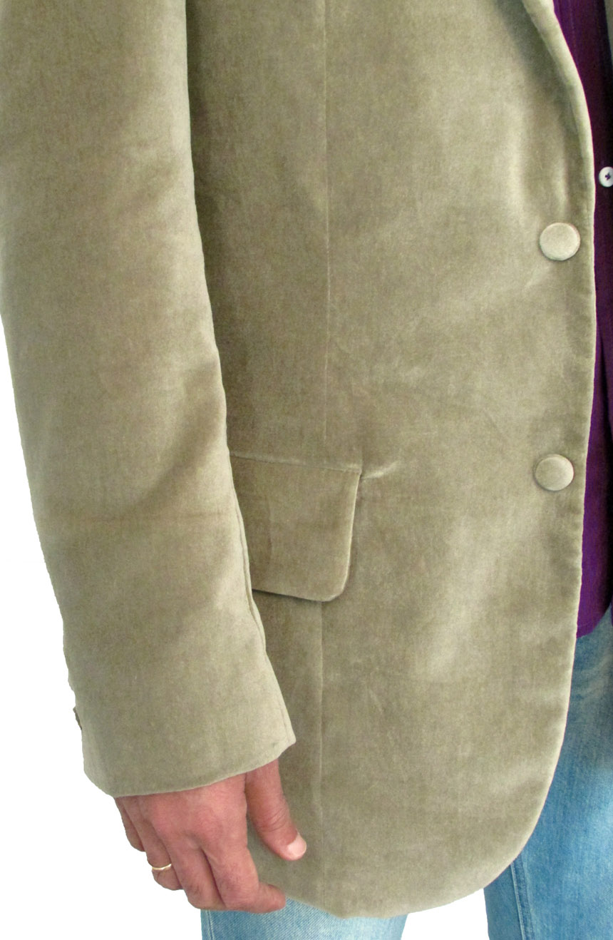 3rd Doctor Who green velvet jacket close view.
