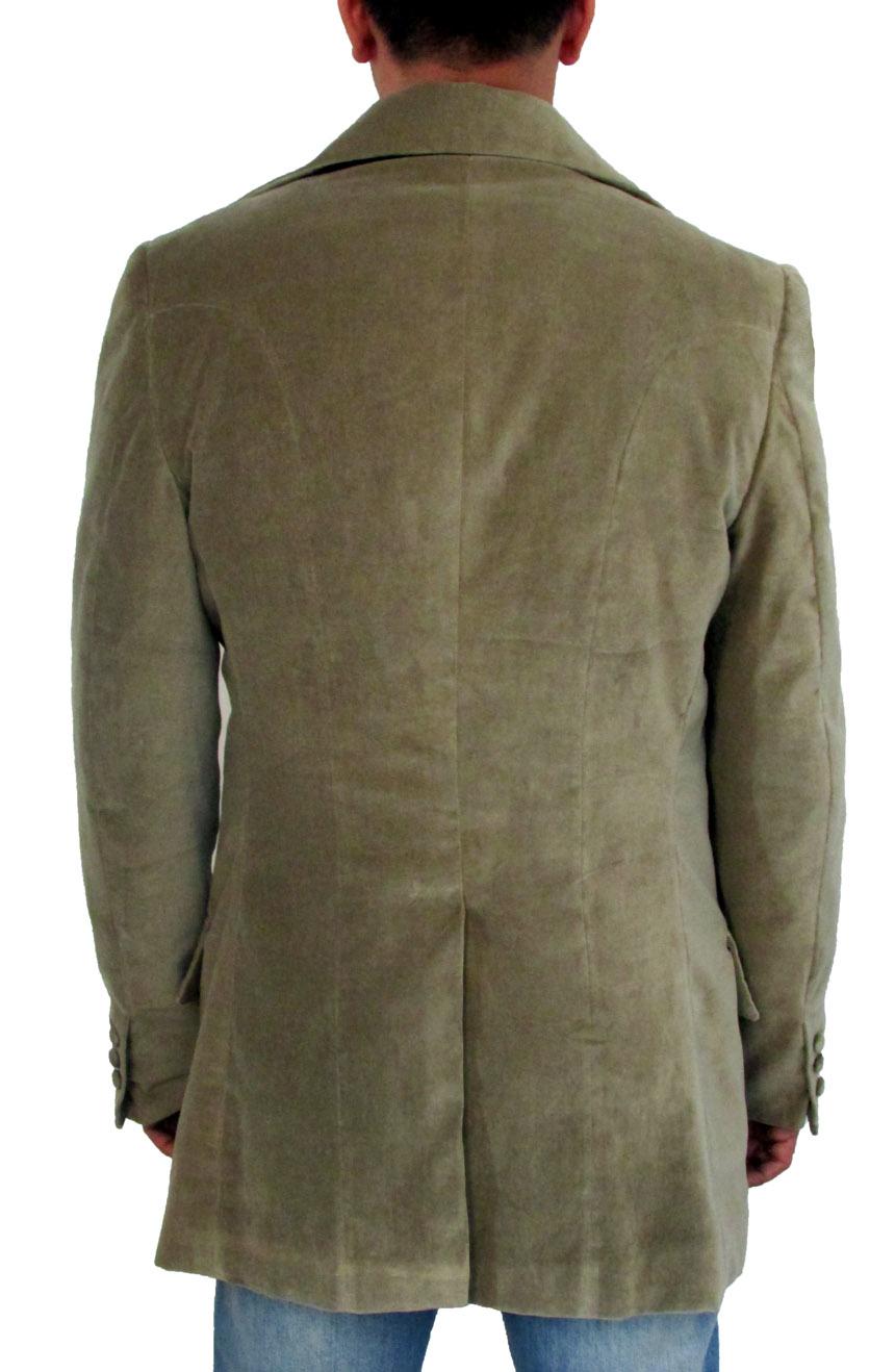 3rd Doctor Who green velvet jacket full back view.