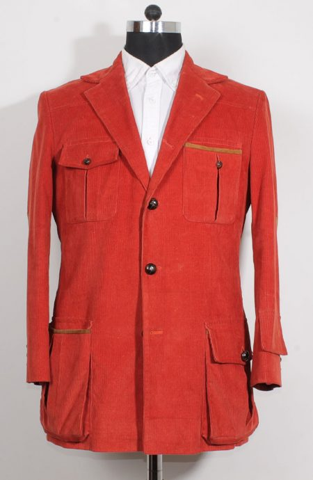 4th Doctor jacket in red corduroy for Tom Baker cosplay, full front view.