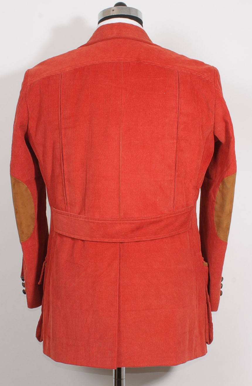 4th Doctor jacket in red corduroy for Tom Baker cosplay, a full back view.