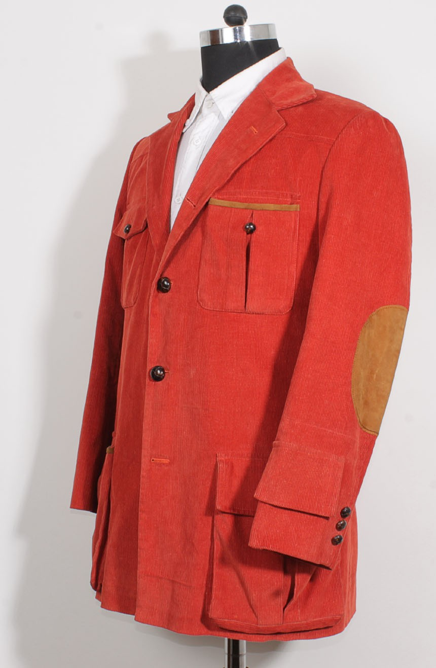 4th Doctor jacket in red corduroy for Tom Baker cosplay, a full side view.