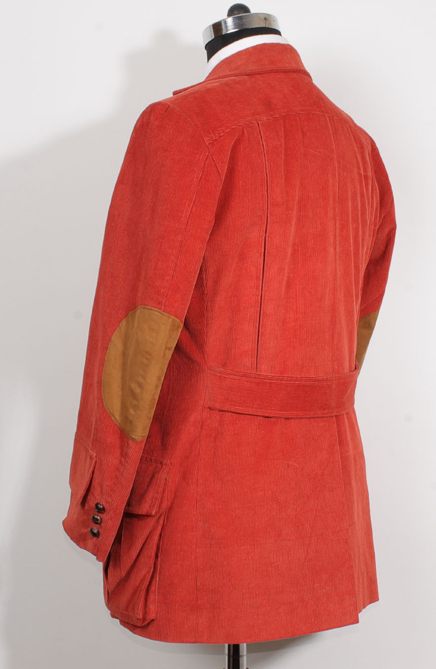 4th Doctor jacket in red corduroy for Tom Baker cosplay, a sleeve cuff view.
