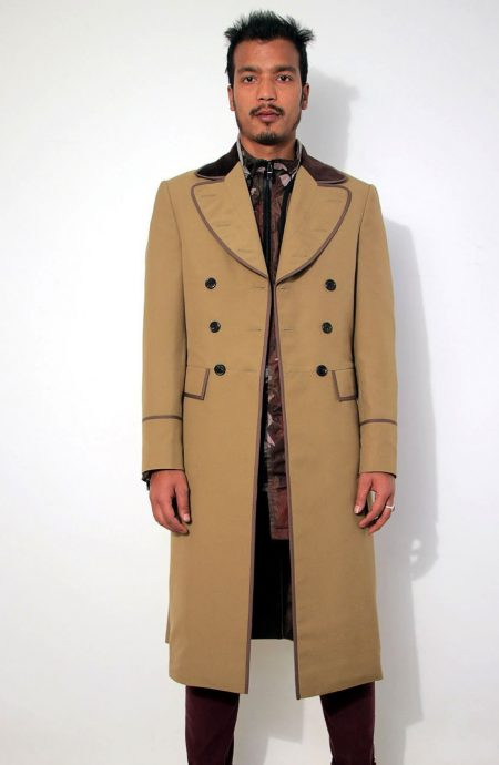 4th Doctor Who Tom Baker frock coat, a full front view.