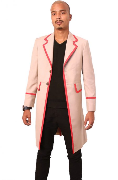 5th Doctor cosplay beige frock coat with red piping details.