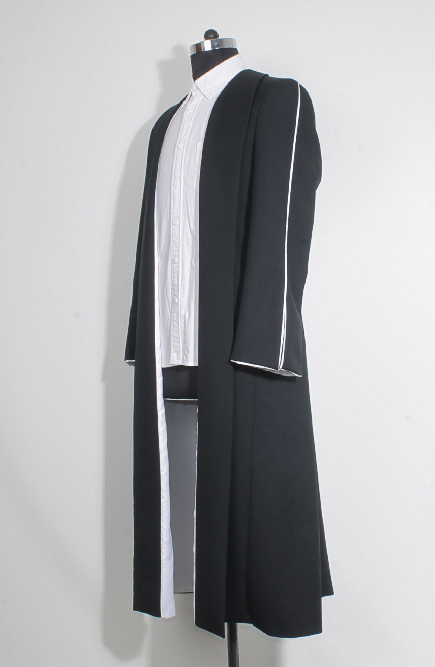 Black wizard robe womens from the Fantastic Beasts for Percival Graves cosplay, a full left view.