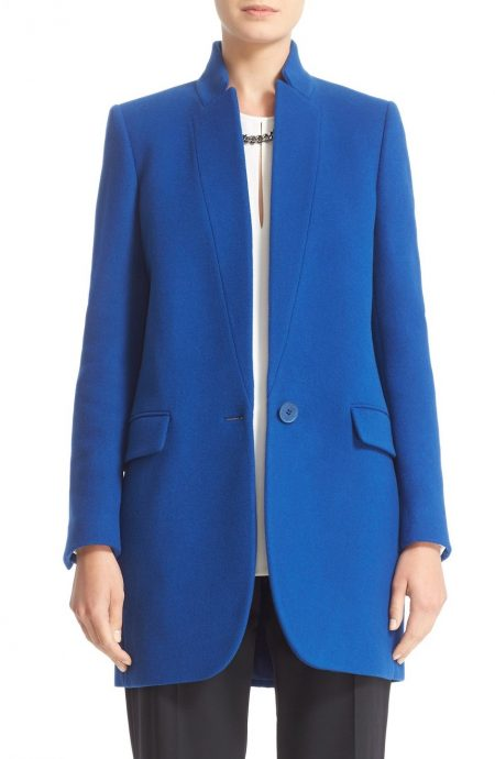 Cobalt blue womens coat for winter in Melton wool.