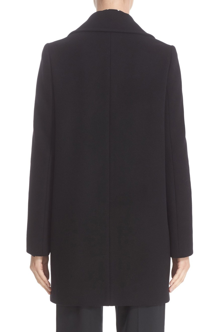 Double-breasted wool coat womens in the mid-length full back view.