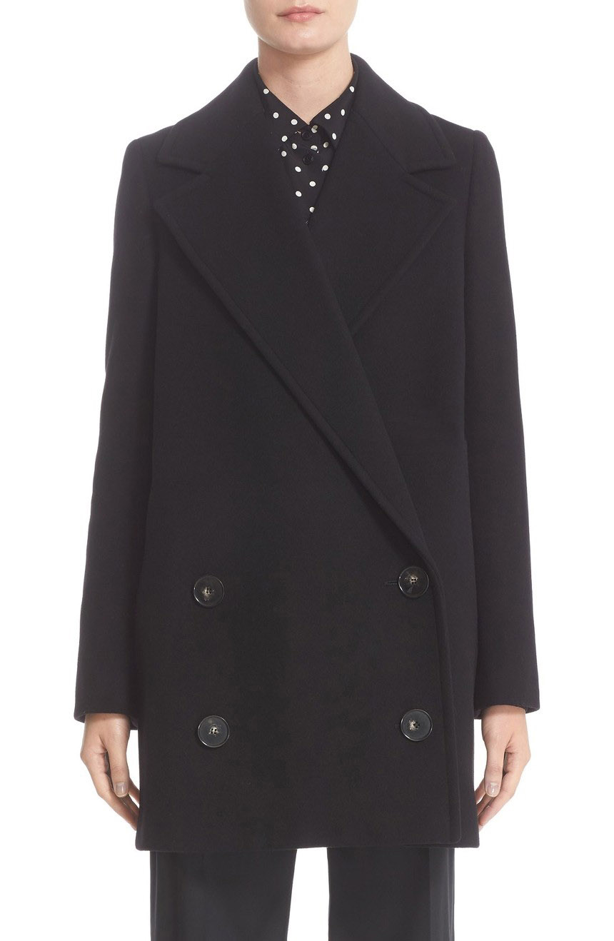 Double-breasted wool coat womens in mid-length.