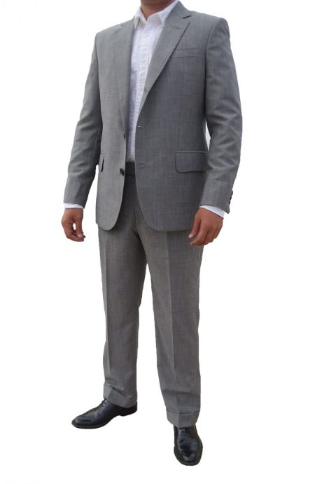 James Bond Skyfall grey suit full front view.