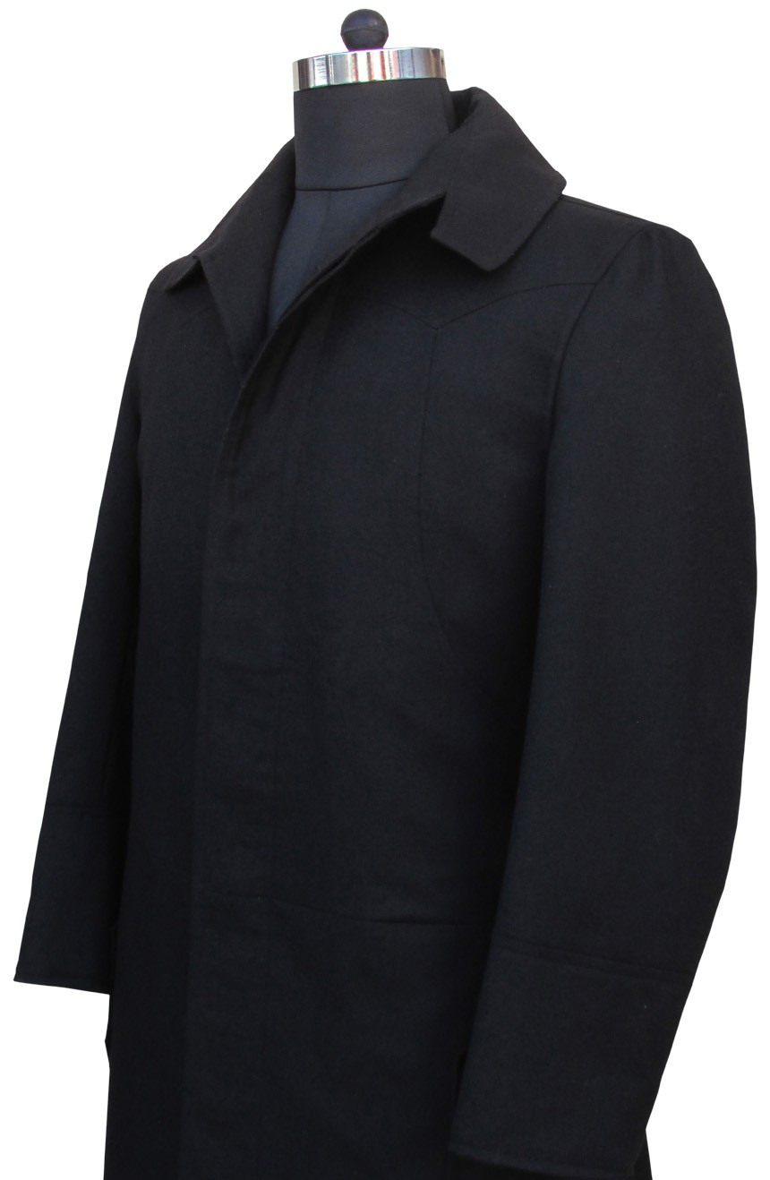 Matrix coat aka Neo trench coat black from the Matrix 1 movie, side close-up view.