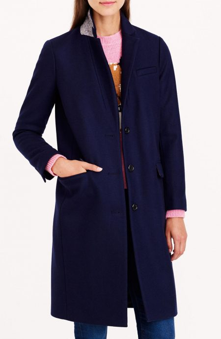 Navy wool cashmere coat womens custom-tailored in a single-breasted style.