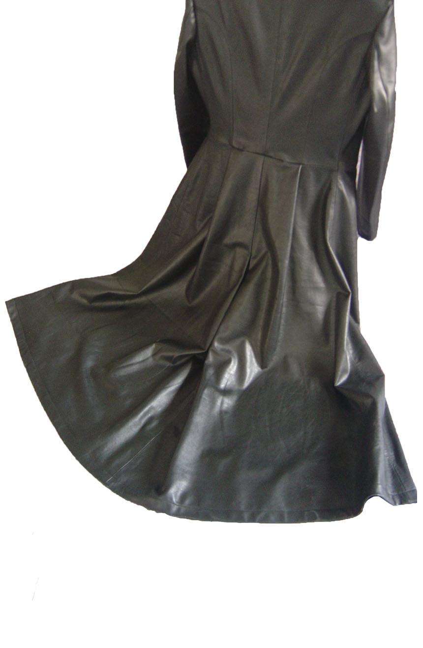 Neo leather trench coat replica from Matrix 2, flared bottom view.