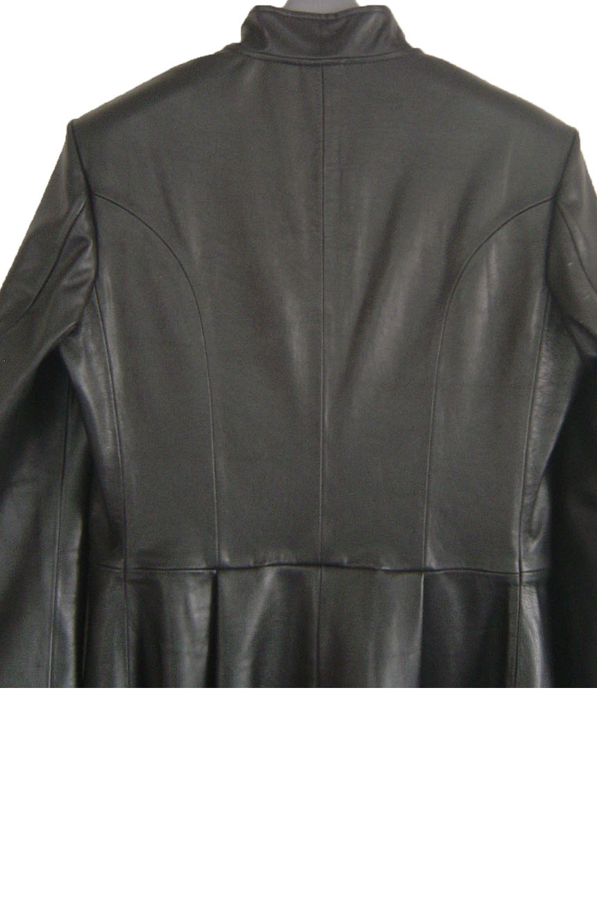 Neo leather trench coat replica from Matrix 2, back upper view.
