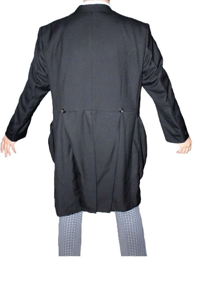 2nd Doctor Who black coat with baggy pockets full back view.