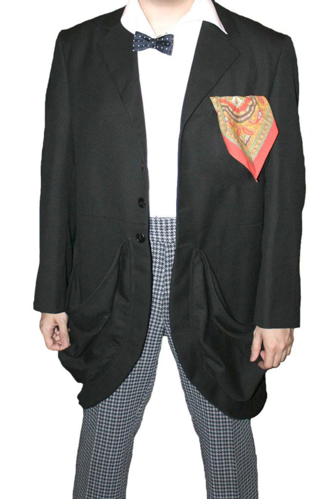 2nd Doctor Who black coat with baggy pockets on a model view.