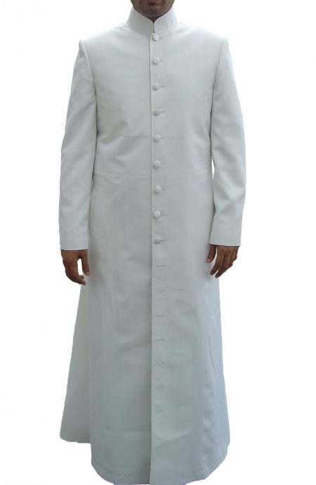 White long coat Neo style inspired by The Matrix Reloaded, a full front view.