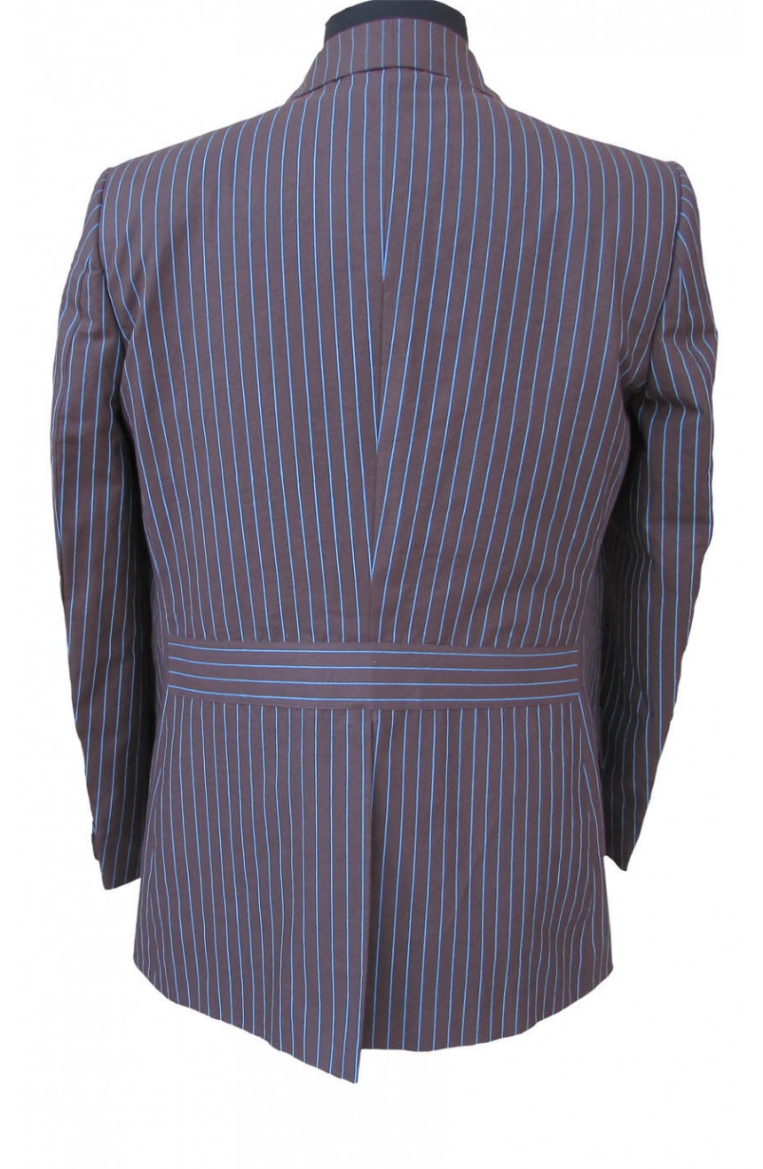 Womens 10th Doctor Who brown pinstripe suit back view.