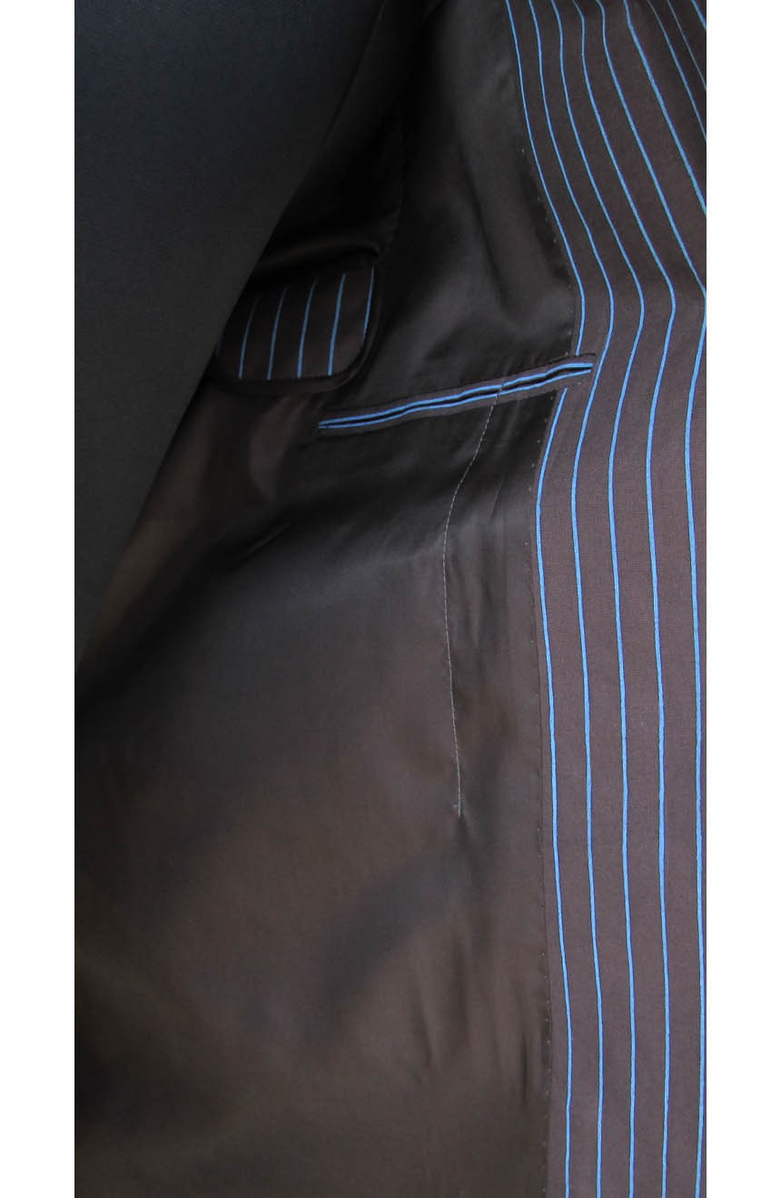 Womens 10th Doctor Who brown pinstripe suit interior view.