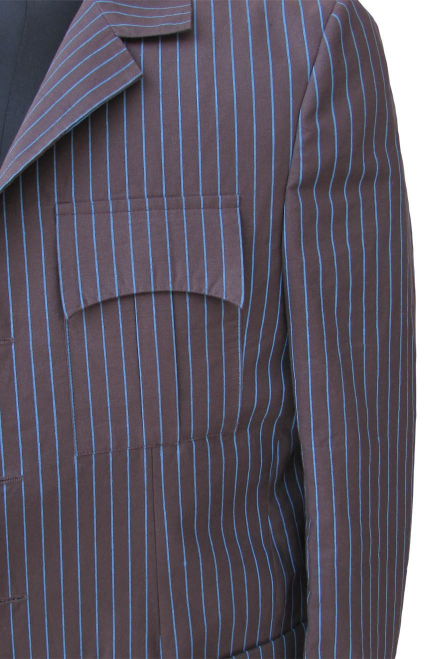 Womens 10th Doctor Who brown pinstripe suit chest pocket view.