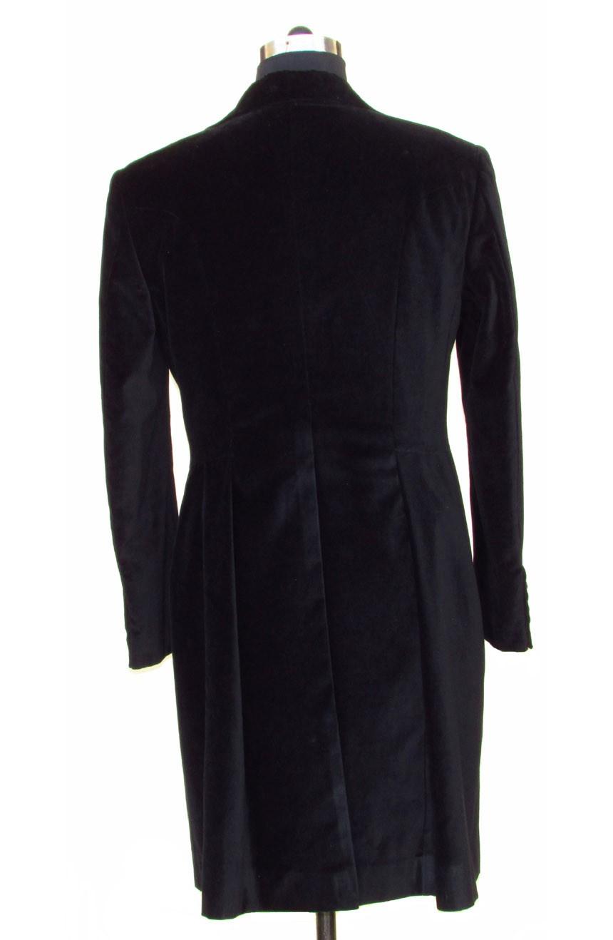 Womens 12th Doctor Who black velvet frock coat full back view.