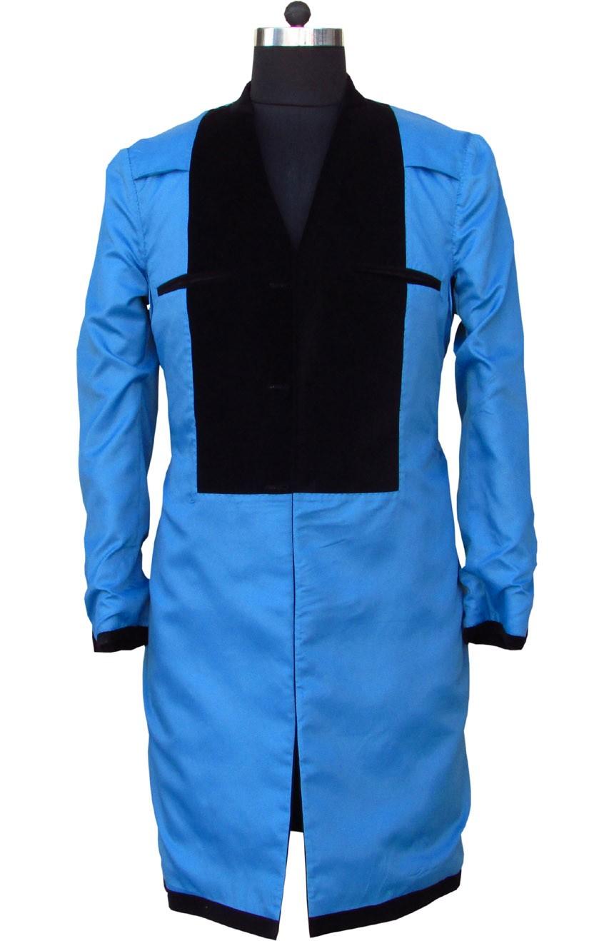 Womens 12th Doctor Who black velvet frock coat full interior view.
