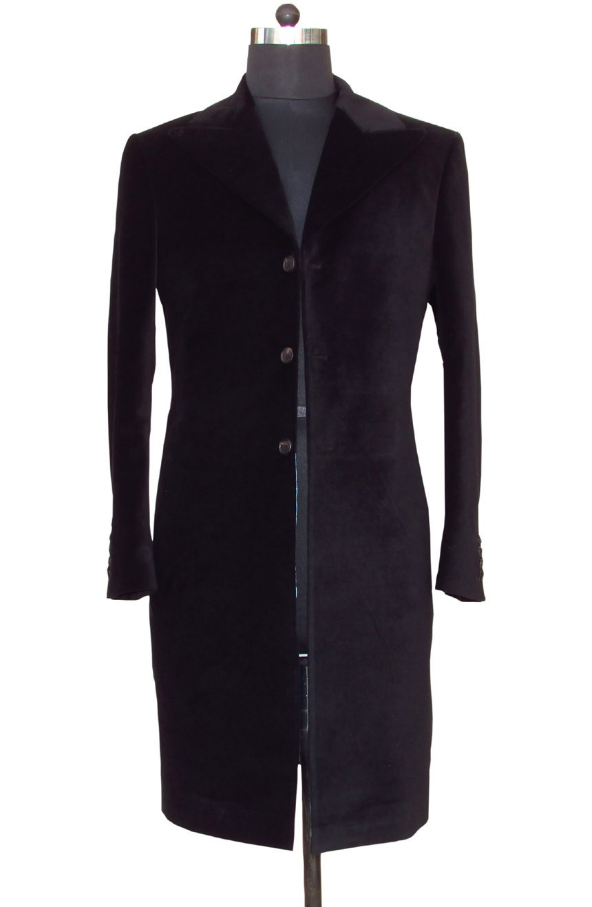 Womens 12th Doctor Who black velvet frock coat.