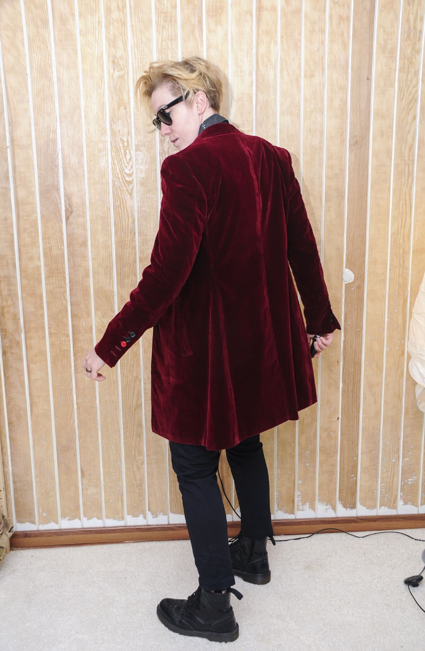 Womens burgundy velvet coat replica from the 12th Doctor Who side view.