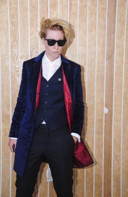 Womens navy velvet coat replica from the 12th Doctor Who.