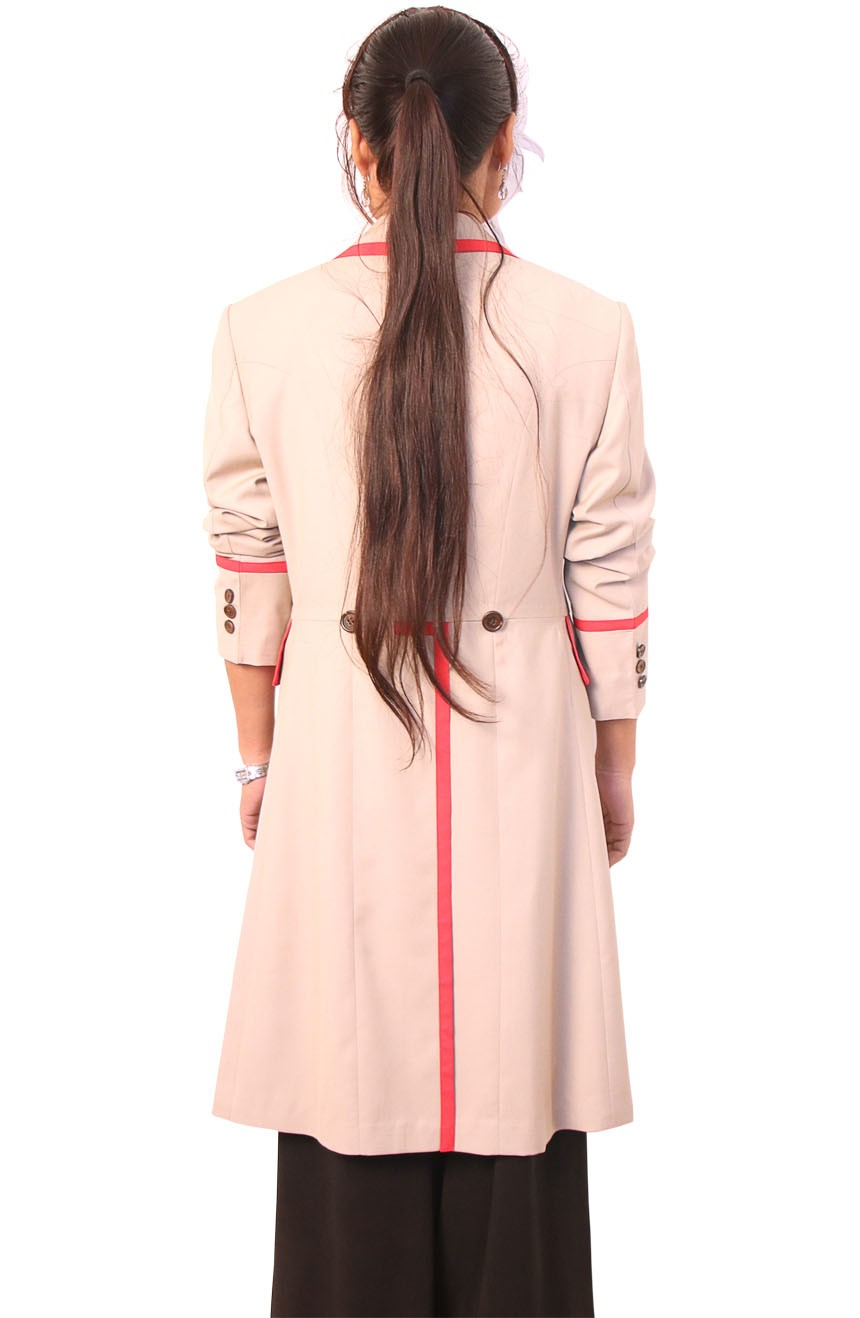 Womens beige frock coat with red stripe inspired by 5th Doctor Who full back view.
