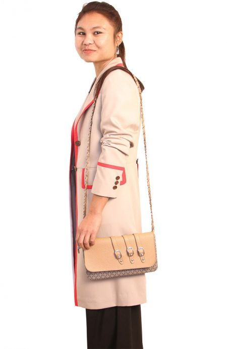 Womens beige frock coat with red stripe inspired by 5th Doctor Who side view.