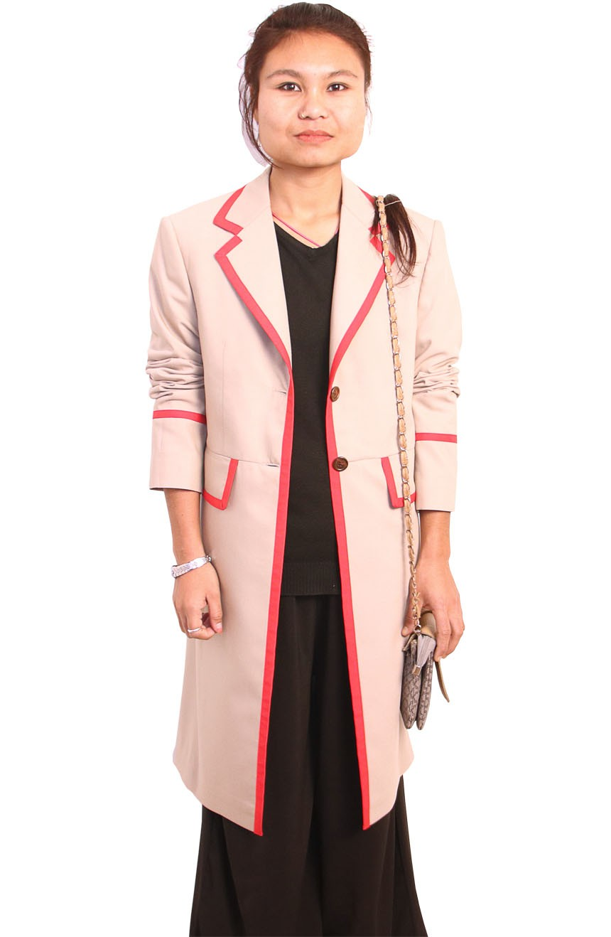 Womens beige frock coat with red stripe inspired by 5th Doctor Who